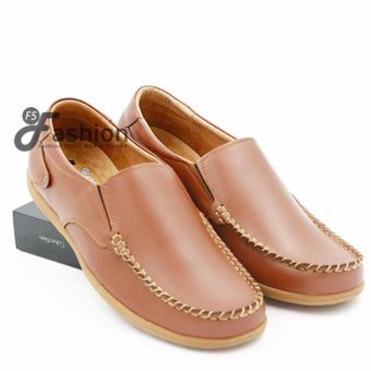 Giày Mọi Nam Đơn Giản Da Thật Đế Nâu GM271 (Nâu bò)