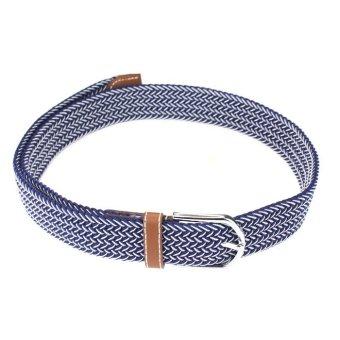 Men Casual Canvas Belt Elastic Rubber Concise Belt Metal Buckle Belt Blue