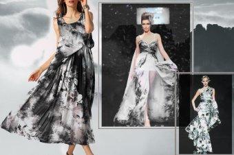 Sunweb ACEVOG Stylish Women Casual Print Sleeveless Loose Beach Sundress Long Chiffon Dress ( Dark gray ) - intl