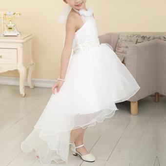 Moonar Lovely Girls' Favor Pure White Sleeveless Princess Wedding Party Dress (110-140cm) - intl