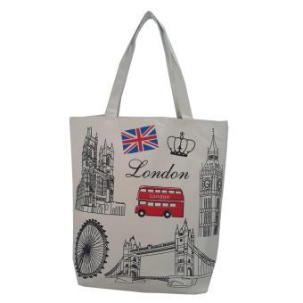 Túi Vải Tote Họa Tiết London Trắng Xinh Store