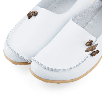 Pure Color Artificial Leather Breathable Flat Shoes(Jacinth) - intl