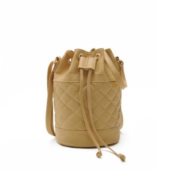 Women Quilted Handbag Bucket Shoulder Messenger Bag Tote Satchel Khaki - Intl