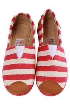 LALANG Fashion Canvas Shoes Striped Printed Casual Sneakers Red - intl