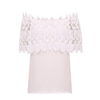 Women Sexy Chiffon Lace Stitching Off Shoulder Short-sleeved Blouse White - Intl