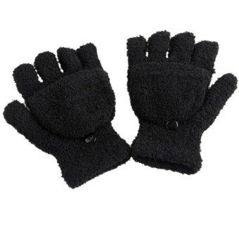 Fingerless Gloves Winter Half Finger Flip Knitted Mittens Black