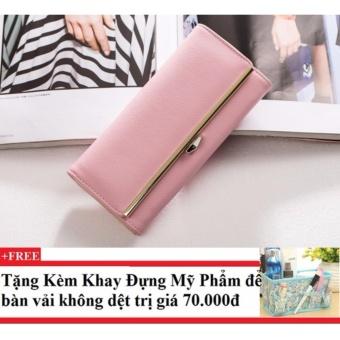 Ví cầm tay nữ nhiều ngăn CDV03 (hồng nhạt)+ Tặng kèm khay đựng mỹ phẩm để bàn
