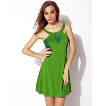 Sunweb Finejo Sexy Ladies Women Lace Patchwork Sleeveless Dress ( Green ) - intl