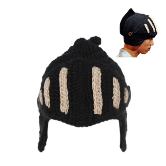 Roman Knight Helmet Style Winter Cap Knit Beanie Hat with Face Mask Black