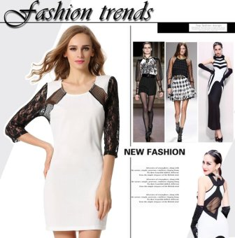 Sunweb Stylish Ladies Women Lace 3/4 Sleeve Career Party Formal Above Knee Mini Patchwork Lace Chiffon Dress ( ) - intl
