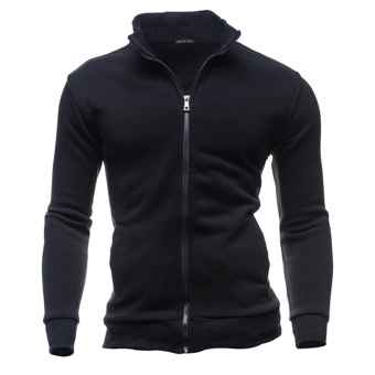 Men Warm Zipper Coat Jacket Slim Fit Casual Sleeve Outwear(Black) (Intl)
