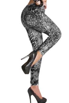 Denim Look Ripped Leggings (Grey) - Intl