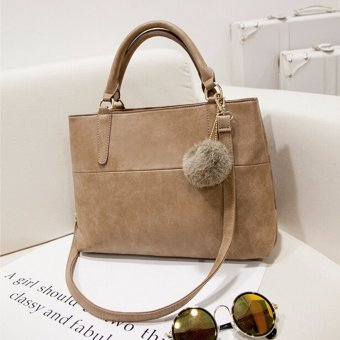 Fashion Women Handbag Shoulder Bag Messenger Large Tote Leather Ladies Purse HOT Khaki - Intl