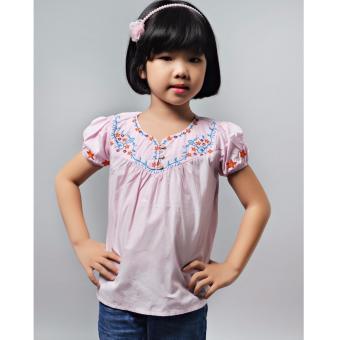 Áo kiểu thêu cúp trước Somy Kids màu hồng