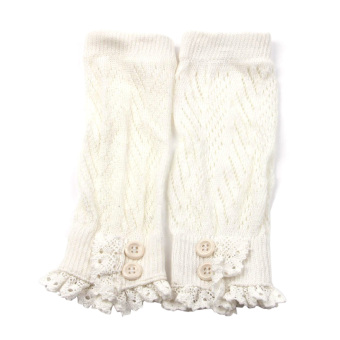 Women Legwarmers Crochet Knit Cotton Lace Trim Leg Warmers Boot Cuffs Leg Warmer White
