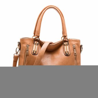 Women Lady Vintage Side-Zipper Buckle Handbag Tote Shoulder Crossbody Bag apricot - Intl