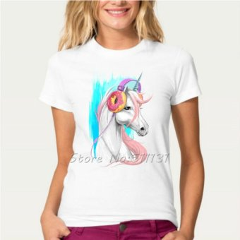 Newest Funny Unicorn Rainbows T-Shirt Summer Harajuku Cartoon T-Shirt(Pattern Random)A2 - intl