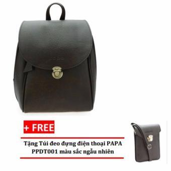 Balo thời trang nữ PAPA PPB002 (Màu nâu) + Tặng túi đeo đựng điện thoại PAPA PPDT001