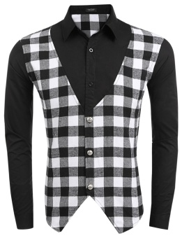Cyber Men Slim Fit Long Sleeve Plaid Vest Patchwork Button Down Casual Shirts ( Black ) - intl