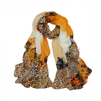 Fashion Women Chiffon Scarf Leopard Print Long Shawl Wrap Pashmina Yellow (Intl)