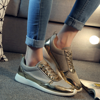 Women's Fashion Board Shoes With Splicing Design(Golden) - intl