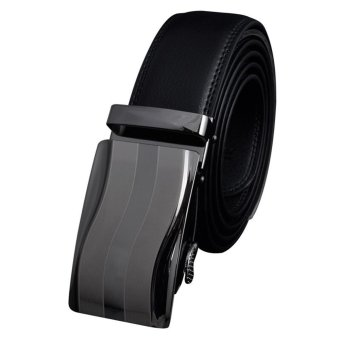 Mens Automatic Buckle Leather Waist Strap (Black) - intl
