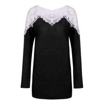 Cyber Meaneor Women Fashion Casual Long Sleeve Lace T-Shirt Sweater Pullover Top Blouse (Black) - Intl