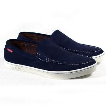 Giày slip-on viền chỉ trắng Tathanium Footwear TFNVS3303 (Xanh Navy)