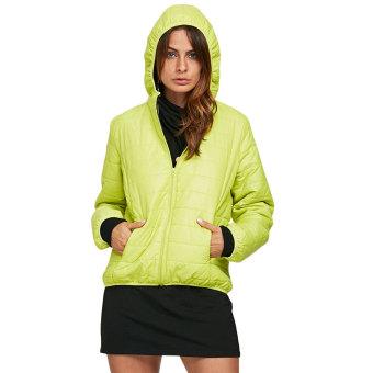 Women Hooded Solid Zipper Down Coat (Celadon) - intl