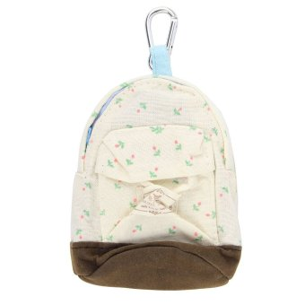 niceEshop Women Cute Backpack Flower Coin Bag Wallet Hand Pouch Purse,White - Intl