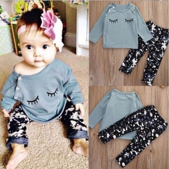 1Set Toddler Baby Girls Eyelash Print T-shirt Tops+Pants Outfits Clothes - intl