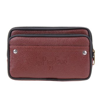 New Men Waist Pack PU Leather Casual Small Belt Wallets (Brown) - intl