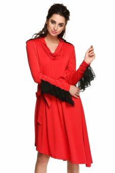 Cyber FINEJO Women Casual Long Sleeve Epaulette Loose Asymmetrical Hem Dress ( Red ) - Intl