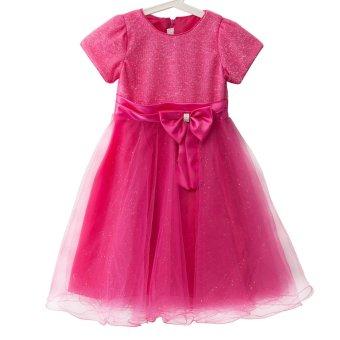 Sweet Round Collar Short Sleeve Big Bowknot Gauze Sequins Girls Princess Dress - intl