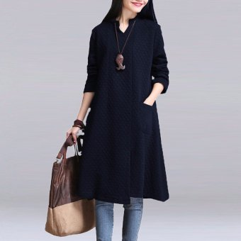 Fashion Women Mori Girls Long Sleeve V Neck Stand Collar A-Line Split Tunic Kaftan Shirt Dress - intl