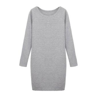 Moonar Women Cotton Bottoming Shirt Long Sleeve Dress (Light Gray) - intl