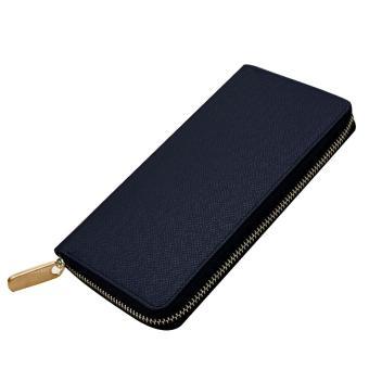 Men Multipurpose Credit Cards Holder Long Zipper Change Clutch Wallet Purse Bag Blue - intl