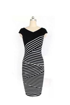 Moonar V Neck Stripe Party Dress(Black/White) - Intl