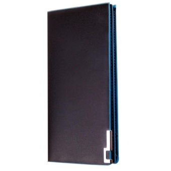 Men Wallets Long Thin Wallet Male Money Purses Flip Up Wallet blue - intl