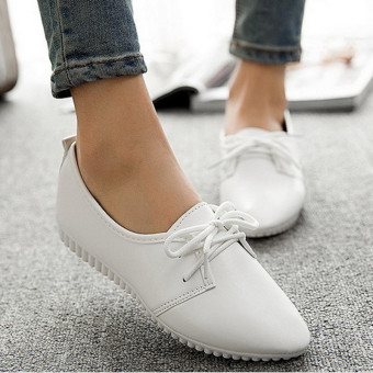 Womens Lady Snakeskin Oxfords Pointy Toe Casual Flats Lace Up Dress Formal Shoes white - intl