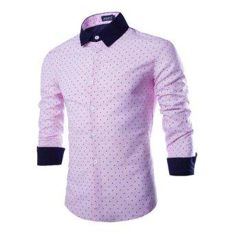 Men Fashion Luxury Casual Slim Fit Shirts Pink - Intl