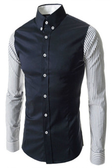Reverieuomo CS37 Single-Breasted Shirt Dark Blue - Intl