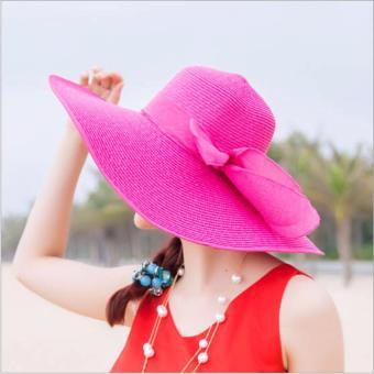 Nón, mũ rộng vành dành cho nữ kiểu dáng Hàn Quốc (hồng đậm)