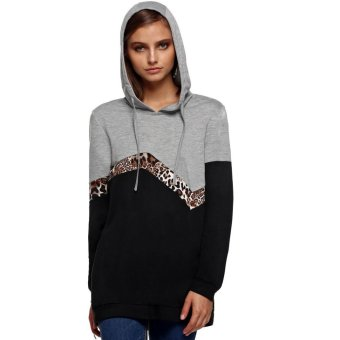 Cyber Finejo Spring/ Autumn Women Casual Hooded Long Sleeve Patchwork Pullover Hoodies Coat (Grey) - Intl