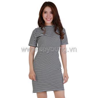 Váy Dáng Ôm Xoắn Eo Họa Tiết Kẻ Sọc Nữ Soyoung DRESS 0078V1 B