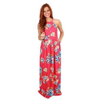 Zaful Printed Long Dress Condole Belt Off The Shoulder Design Sleeveless - Intl