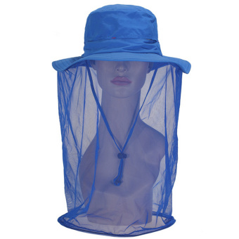 360 Degrees Wide Brim Anti Mosquito Bee Bug Insect Fly Sun Protection Bucket Hat Cap Sunhat with Face Protection Net Mesh Mask Cover Blue - intl