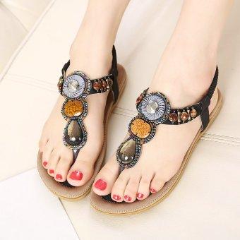 Women 2016 New Summer Flat Sandals Ladies Summer Bohemia Beach Flip Flops Shoes (Black) - intl