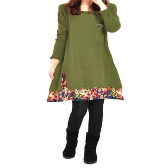 ZANZEA Splice Floral Hem Loose Round Neck Pullover Pregnant Woman Cotton Dress (Intl)
