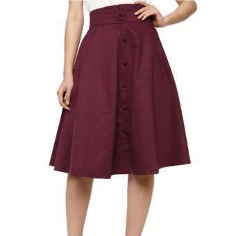 Chân váy xòe vintage phối nút – V02515090 (Đỏ)